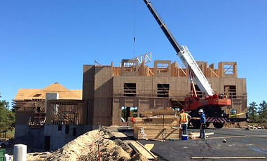 A crane assisting the early construction phase of our Mirbeau Inn and Spa of Plymouth development.