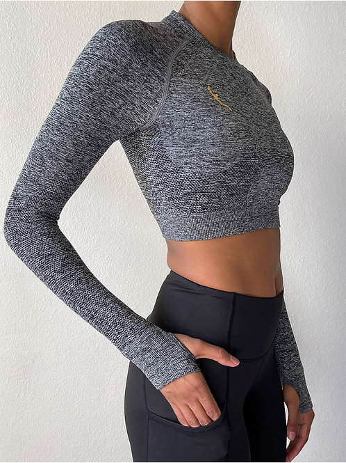 Fitted Grey Crop
