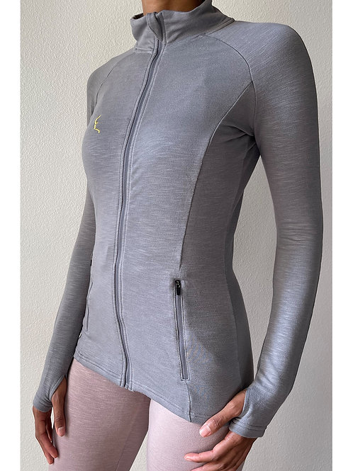Fitted Grey Long Sleeve Zip Up