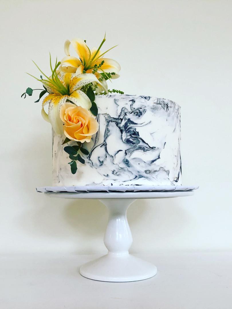 Grey marble buttercream