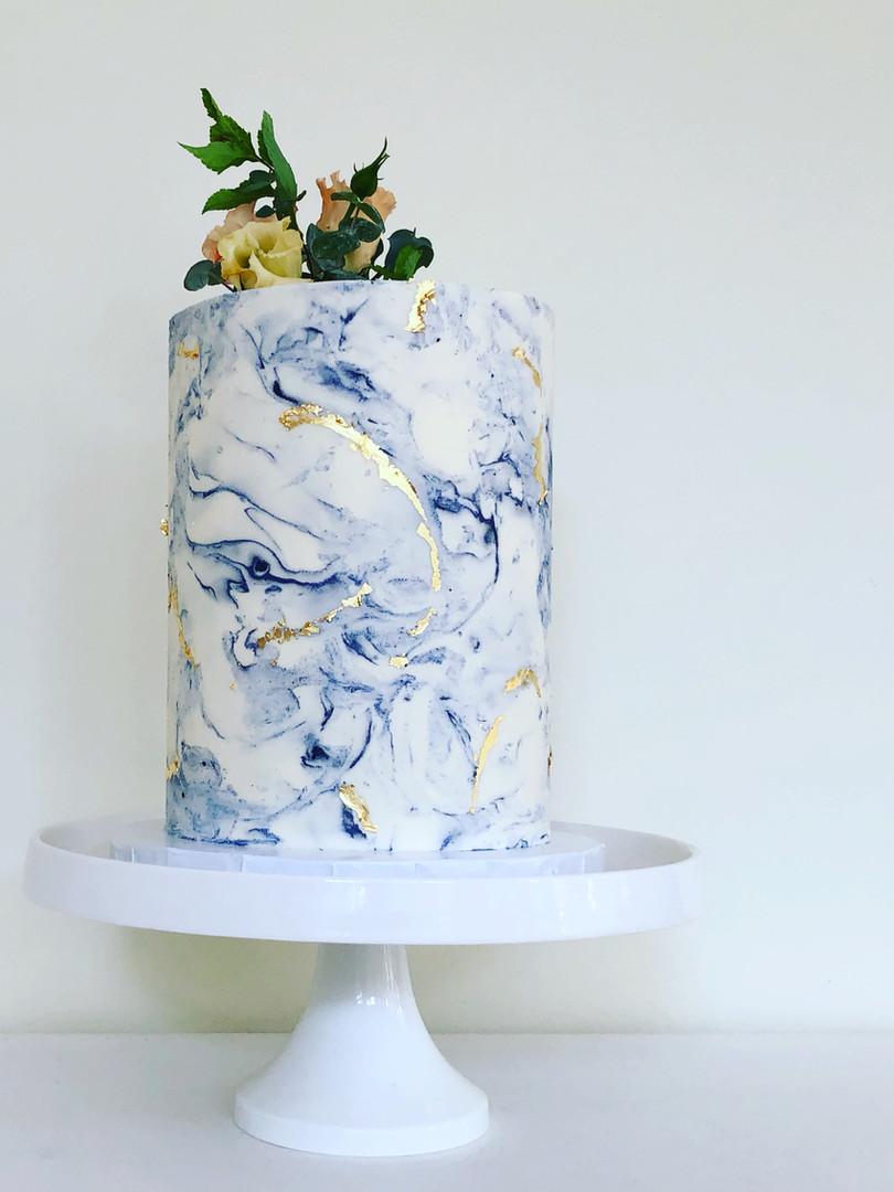 Blue buttercream marble