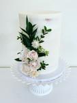 Fresh Flowers on a Semi-Naked Cake