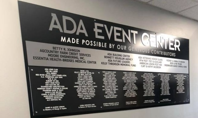 Ada Area Event Center Donar Plaque, Ada,