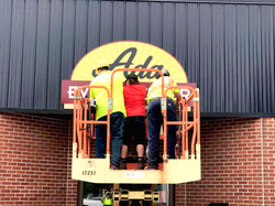 Ada Area Event Center Sign going up