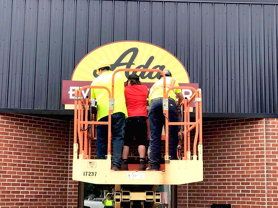 Ada Area Event Center Sign going up in A