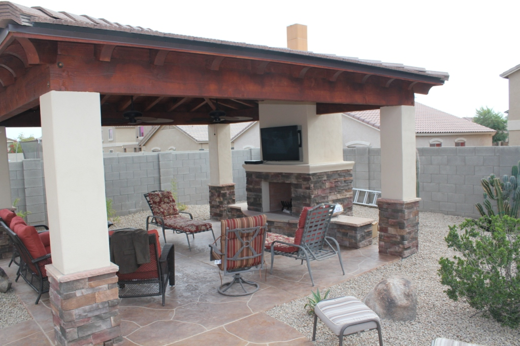 wood and concrete shade structure