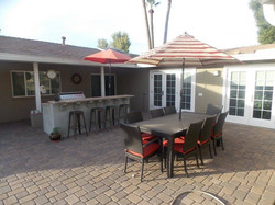 paver patio with built in  barbeque