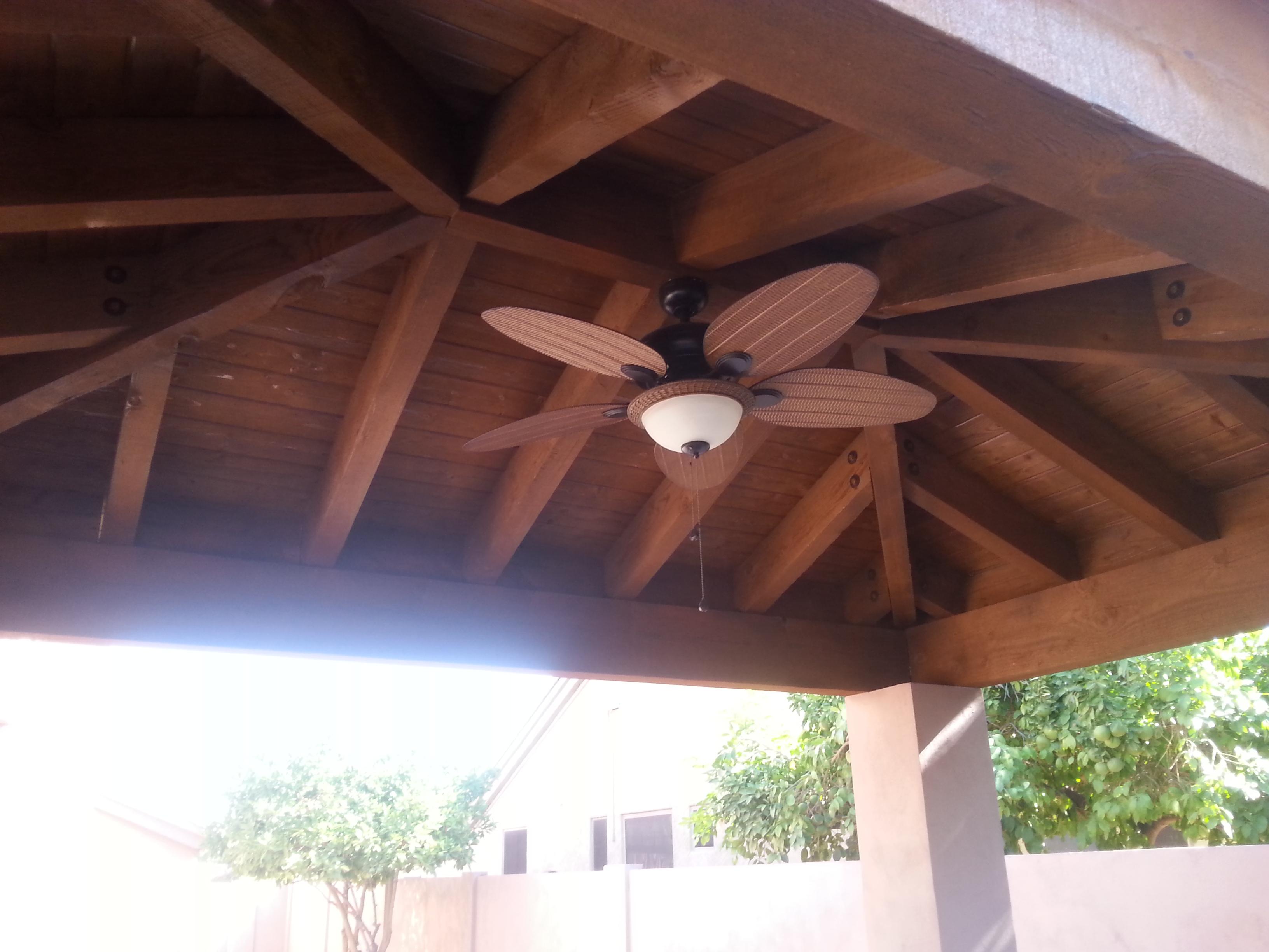 Wood ramada with electical fan