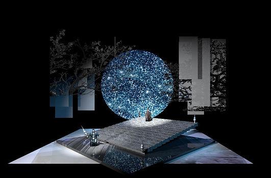 Turandot scenic design Act Three Gardens