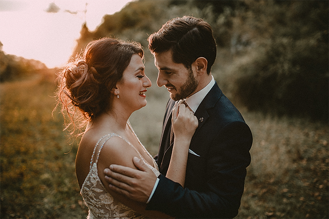 Loft Studio Bride and groom in love at sunset