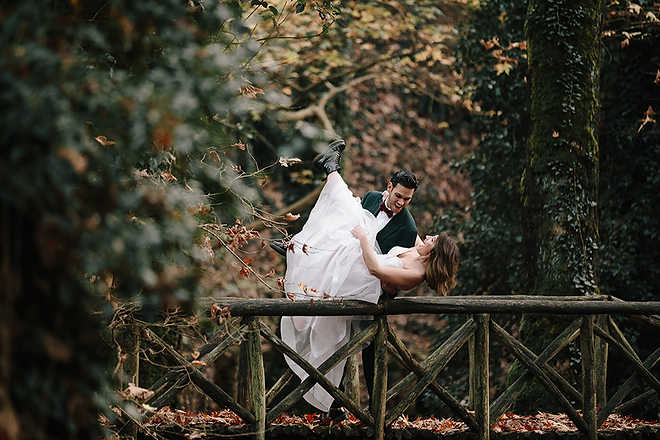Loft studio wedding in the woods with beautyful bride and groom