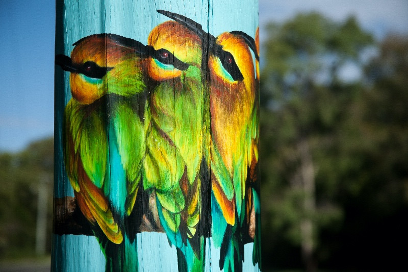 Artfully painted Rainbow Bee Eaters on a power pole