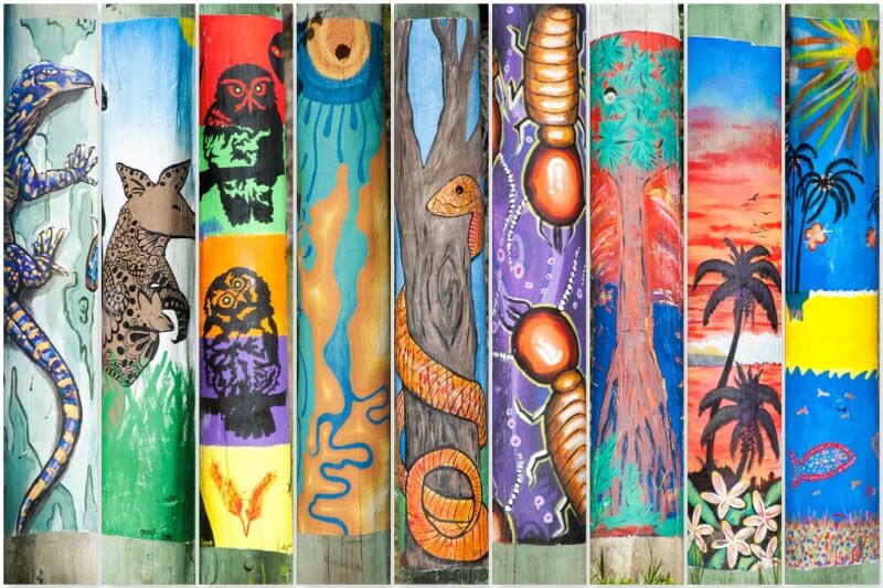 A collage of painted power poles in Agnes Water and the Town of 1770