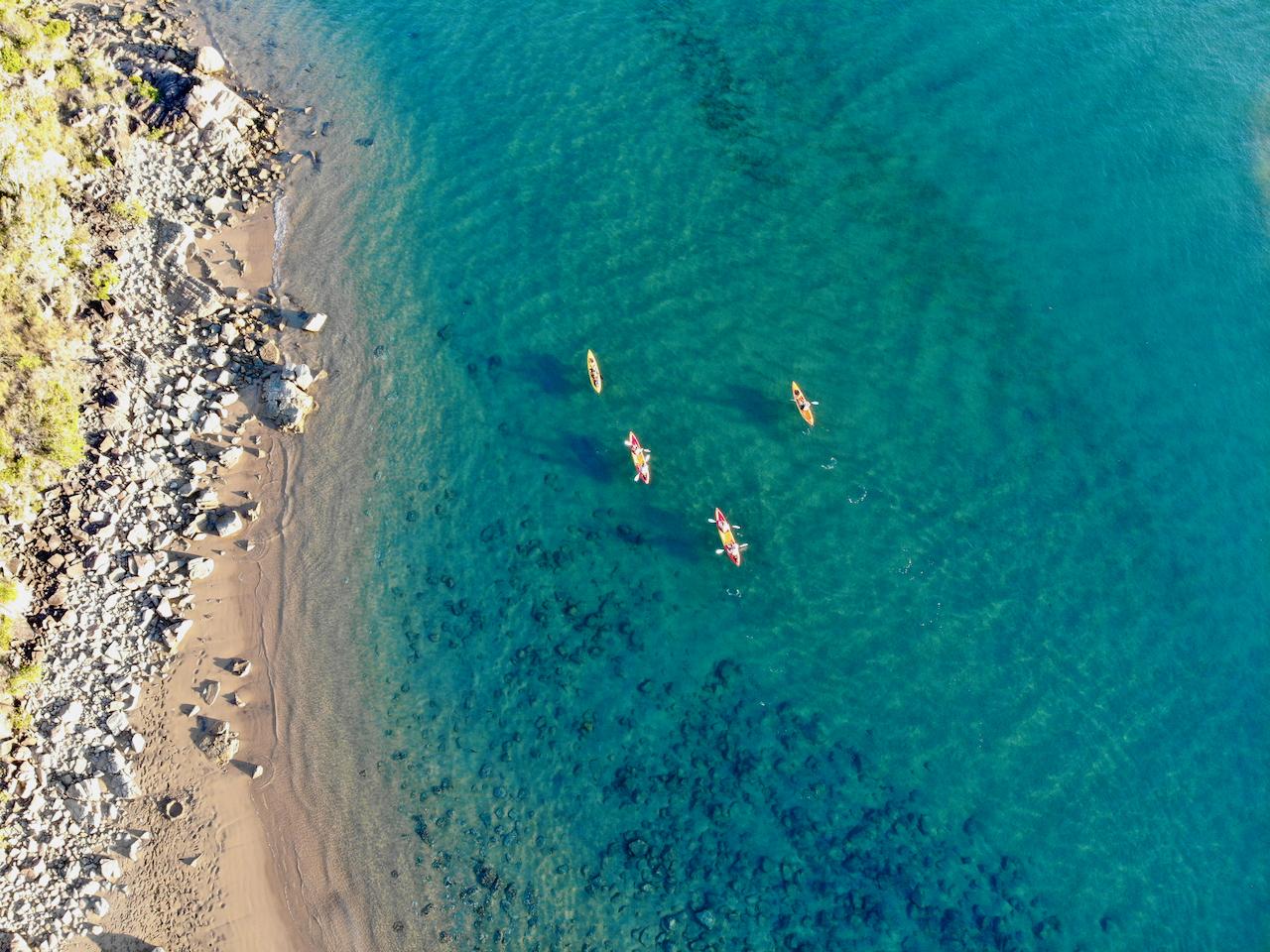 Aerial view of kayaking in 1770