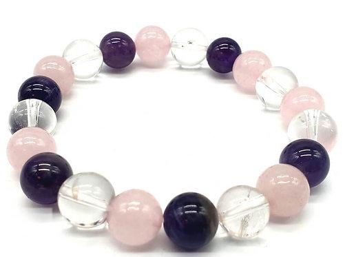 Bracelet Améthyste, Cristal, Quartz Rose - bien-être et sommeil paisible