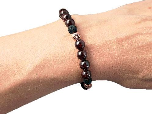 Bracelet «Volonté» Grenat perles 6mm