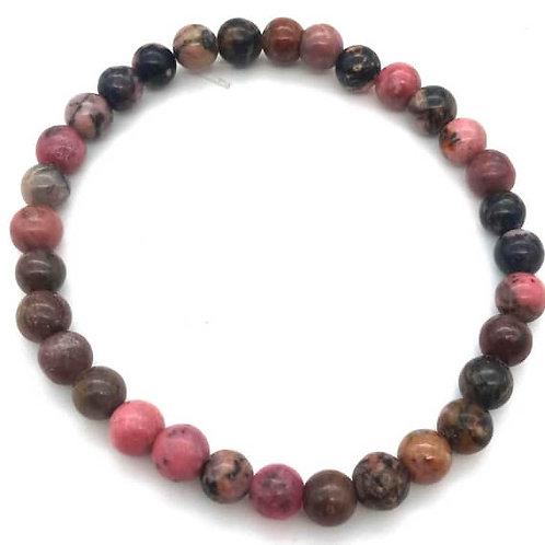 Bracelet 100% pierre naturelle, rhodonite