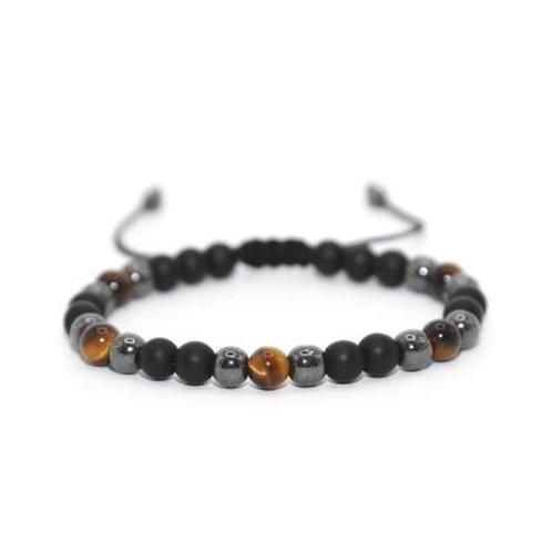 Bracelet Macramé Œil de Tigre, Hématite & Onyx
