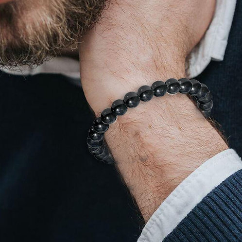 Bracelet «Ancrage» Onyx noir 8 mm