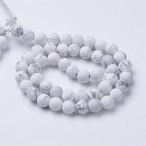 Howlite, perles de 8 mm sur fil de 40 cm
