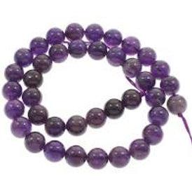 Améthyste, perles de 8 mm sur fil de 40 cm