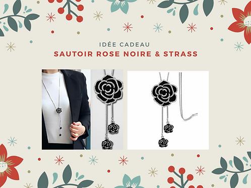 Sautoir Rose Noire & Strass