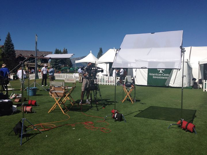 Our setup on driving range at American century golf for NBC Sports.
