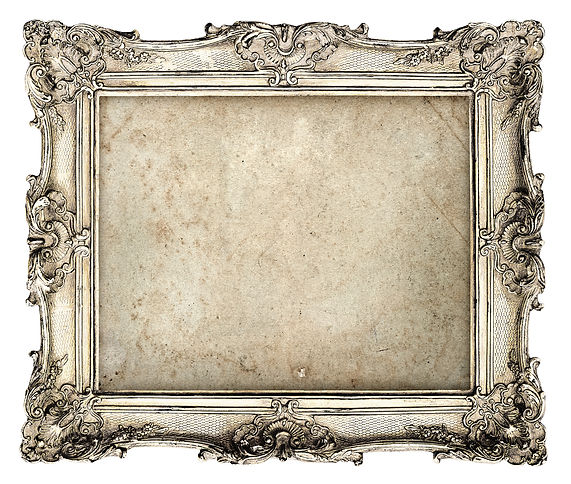 old silver frame with empty grunge canva