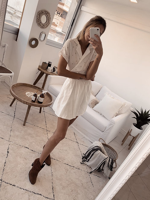 Demi Dress / Off White & Gold