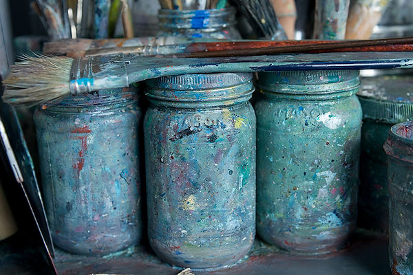 studio paint with brushes