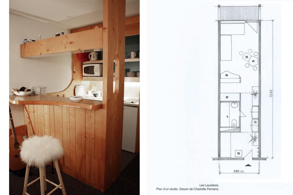Cuisine bar et plan du studio