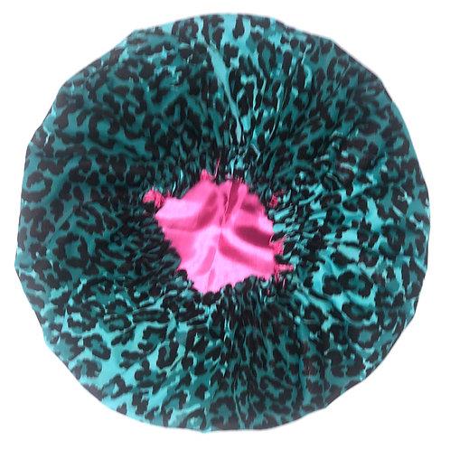 Turquoise Cheetah Bonnet