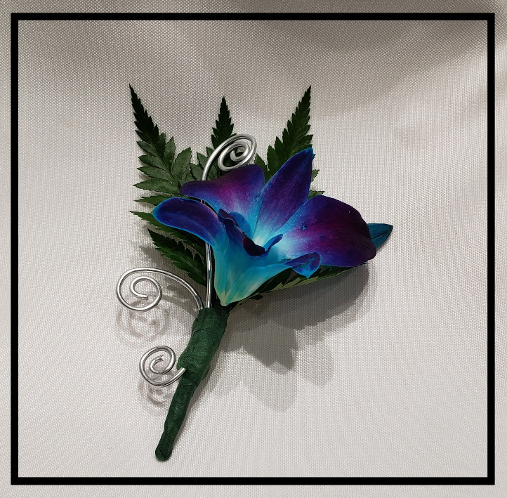 Blue orchid boutonniere, custom wire