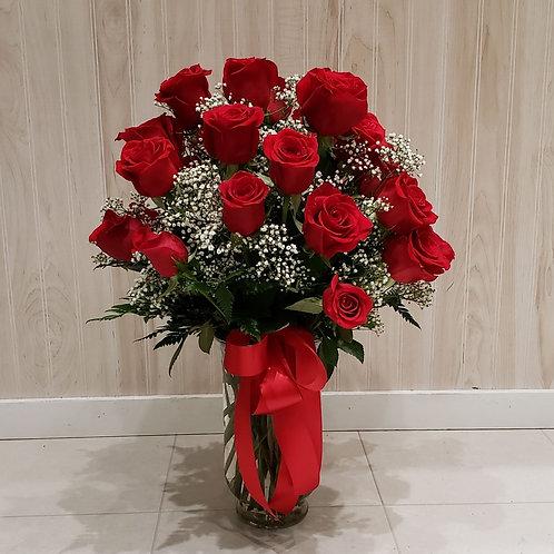 25 Red Roses in Vase