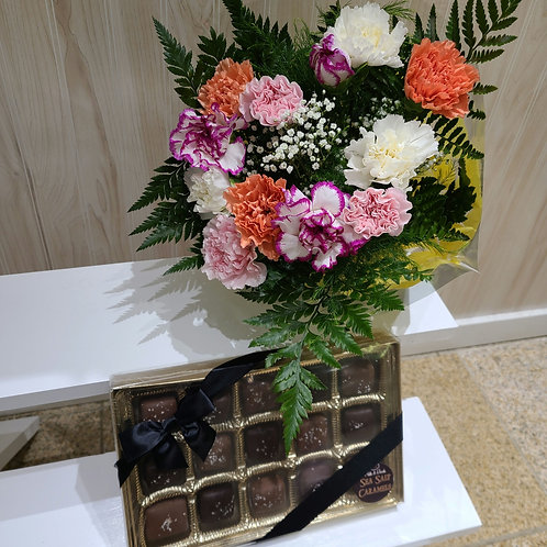 1 Dozen Assorted Carnations and Chocolate