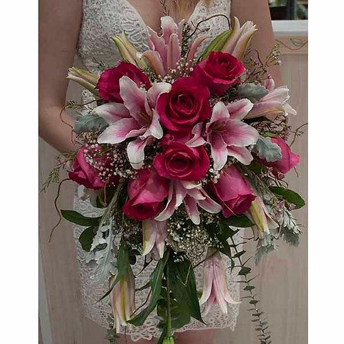 Pink Lily Cascade Bouquet