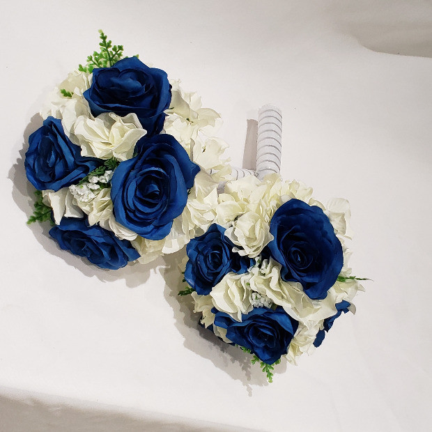 Blue rose, white hydrangea bridal bouquet
