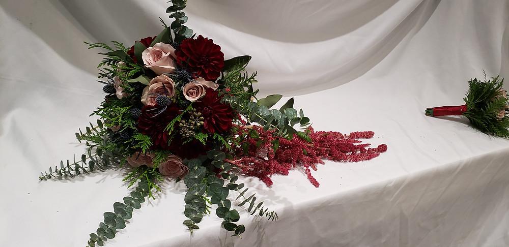 Amaranthus dahlia bridal bouquet