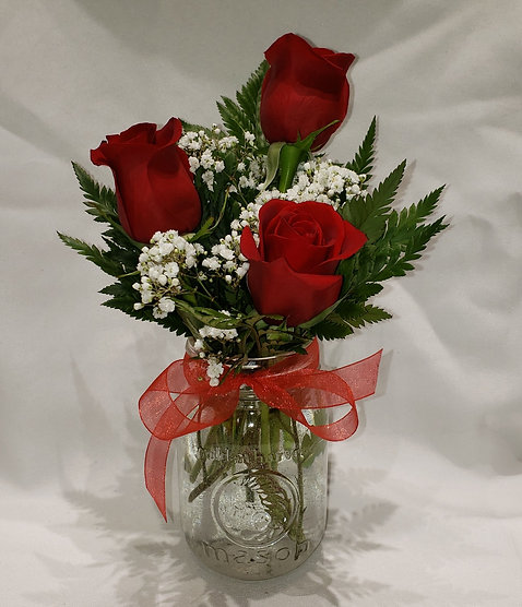 Red Rose Mason Jar