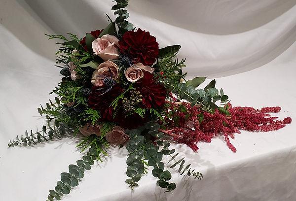 Rose and Dahlia Bridal Bouquet with Eucalyptus
