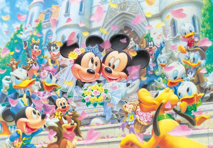 (鐳射閃面) 迪士尼 - 米奇米妮花的婚禮 108塊 (18.2×25.7cm)