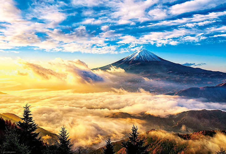 日本風景 - 金色早晨富士山 1000塊 (49×72cm)