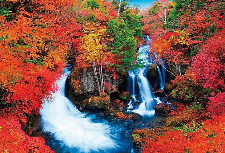 日本風景 - 秋之瀑布紅葉 1000塊 (49×72cm)