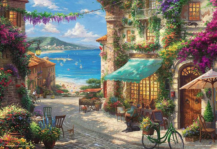 (帆布紋理) Thomas Kinkade - 西西里島開花咖啡館 300塊 (26×38cm)