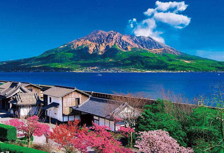 日本風景 - 櫻島與仙巌園 1000塊 (49×72cm)