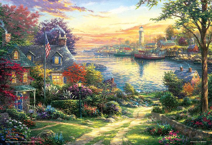 (迷你尺寸) (帆布紋理) Thomas Kinkade - 新英格蘭港 1000塊 (26×38cm)