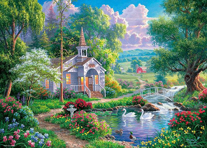 (帆布紋理) Abraham Hunter - 閃亮的水邊教堂 600塊 (38×53cm)