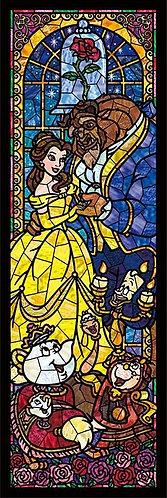 (透明樹脂) 美女與野獸 - 美女與野獸彩繪玻璃 456塊 (18.5×55.5cm)