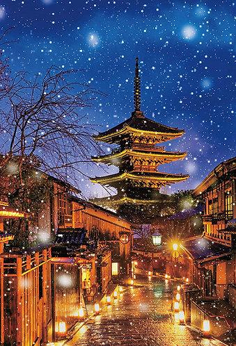 日本風景 - 雪中八坂塔 1000塊 (49×72cm)