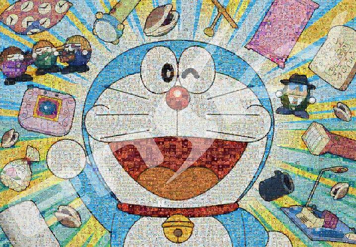 (馬賽克) 多啦A夢 - 多啦A夢大頭肖像與道具 1000塊 (51×73.5cm)